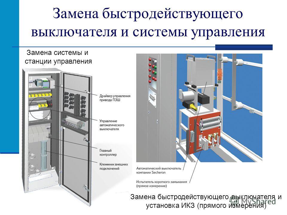 Замена быстродействующего выключателя и системы управления Замена системы и станции управления Замена быстродействующего выключателя и установка ИКЗ (прямого измерения)