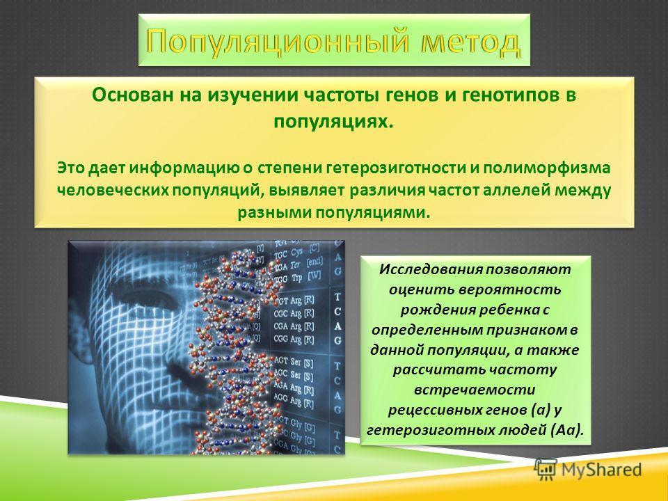 Основан на изучении частоты генов и генотипов в популяциях. Это дает информацию о степени гетерозиготности и полиморфизма человеческих популяций, выявляет различия частот аллелей между разными популяциями. Основан на изучении частоты генов и генотипо