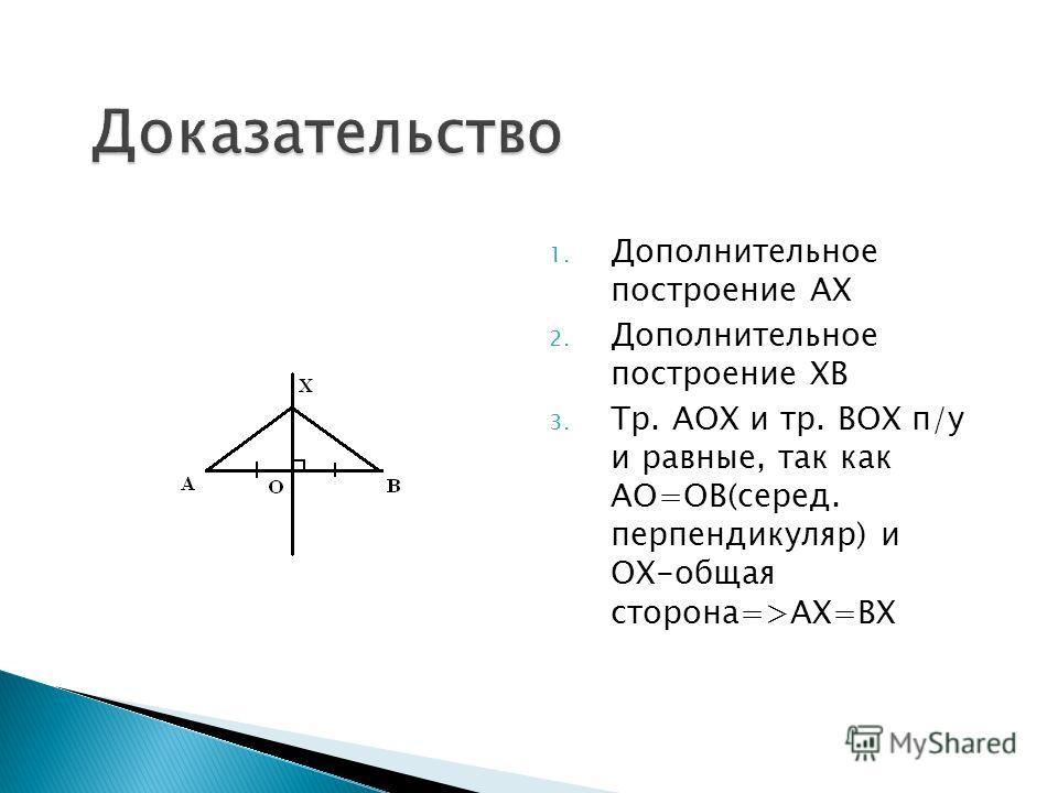 1. Дополнительное построение АХ 2. Дополнительное построение ХВ 3. Тр. АОХ и тр. ВОХ п/у и равные, так как АО=ОВ(серед. перпендикуляр) и ОХ-общая сторона=>АХ=ВХ