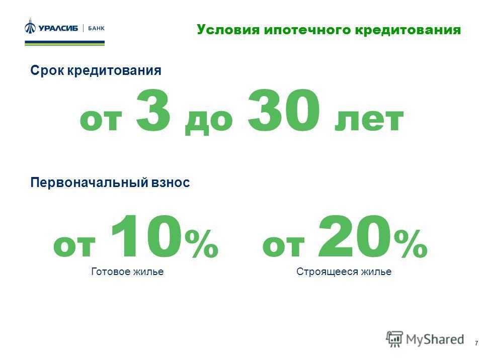 7 Условия ипотечного кредитования от 3 до 30 лет Срок кредитования Первоначальный взнос от 10 %от 20 % Готовое жильеСтроящееся жилье