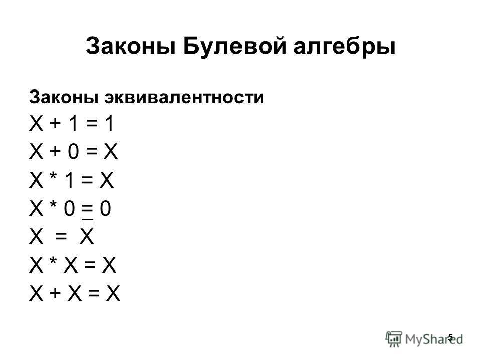 5 Законы Булевой алгебры Законы эквивалентности X + 1 = 1 X + 0 = X X * 1 = X X * 0 = 0 X = X X * X = X X + X = X