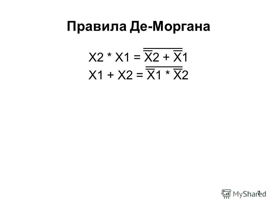 7 Правила Де-Моргана X2 * X1 = X2 + X1 X1 + X2 = X1 * X2