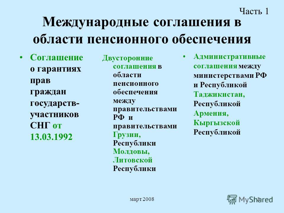март 20083 Международные соглашения в области пенсионного обеспечения Соглашение о гарантиях прав граждан государств- участников СНГ от 13.03.1992 Административные соглашения между министерствами РФ и Республикой Таджикистан, Республикой Армения, Кыр