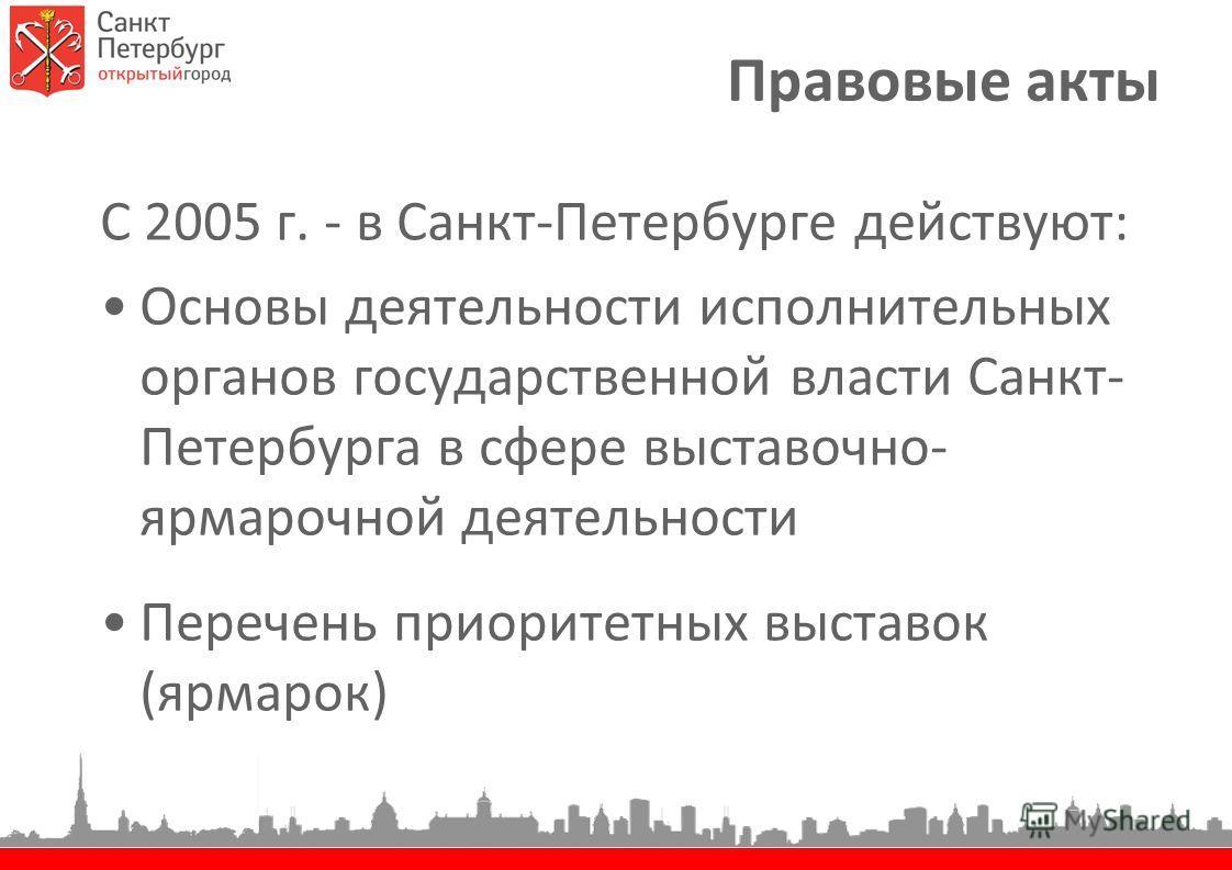 Правовые акты С 2005 г. - в Санкт-Петербурге действуют: Основы деятельности исполнительных органов государственной власти Санкт- Петербурга в сфере выставочно- ярмарочной деятельности Перечень приоритетных выставок (ярмарок)