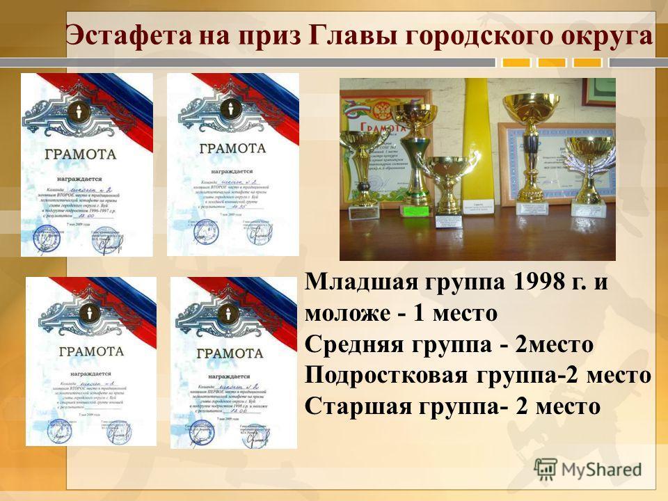 Эстафета на приз Главы городского округа Младшая группа 1998 г. и моложе - 1 место Средняя группа - 2место Подростковая группа-2 место Старшая группа- 2 место