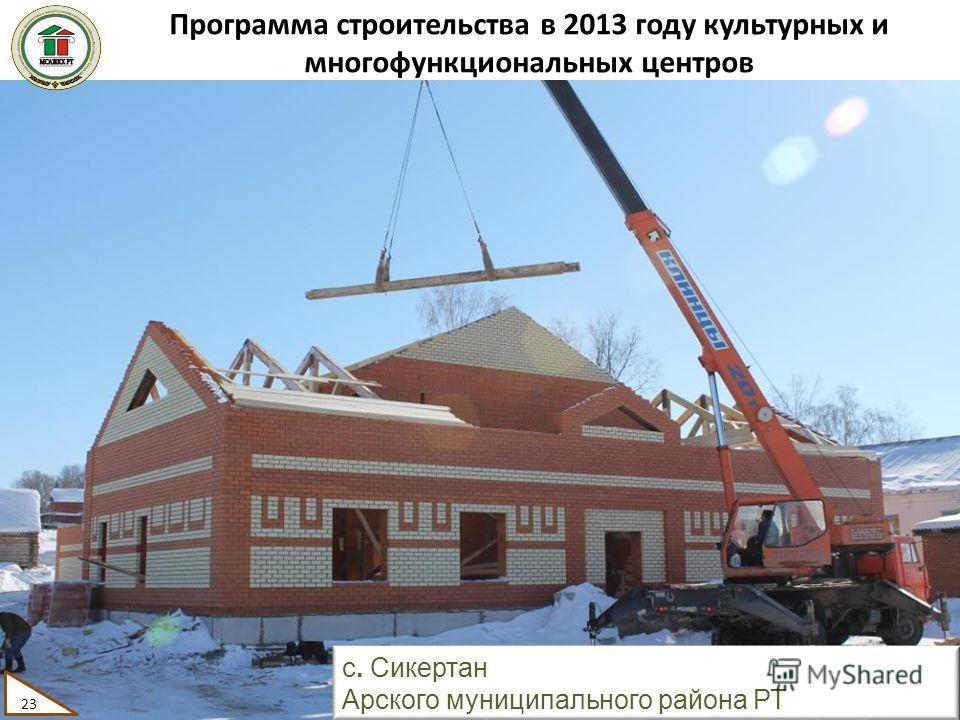 Программа строительства в 2013 году культурных и многофункциональных центров 23 с. Сикертан Арского муниципального района РТ 23