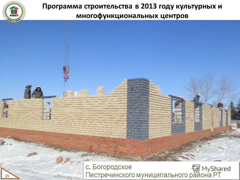 Программа строительства в 2013 году культурных и многофункциональных центров 25 с. Богородское Пестречинского муниципального района РТ 25