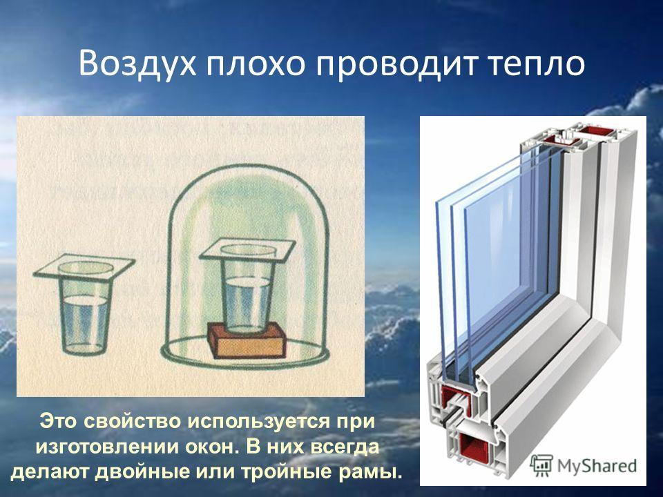 Воздух плохо проводит тепло Это свойство используется при изготовлении окон. В них всегда делают двойные или тройные рамы.