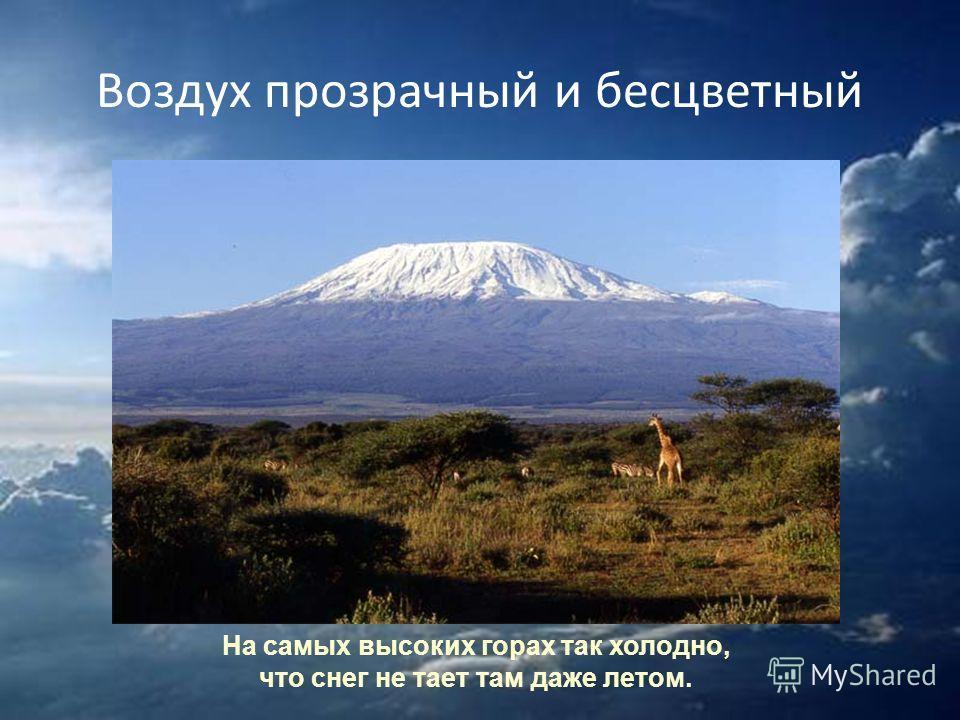 Воздух прозрачный и бесцветный На самых высоких горах так холодно, что снег не тает там даже летом.