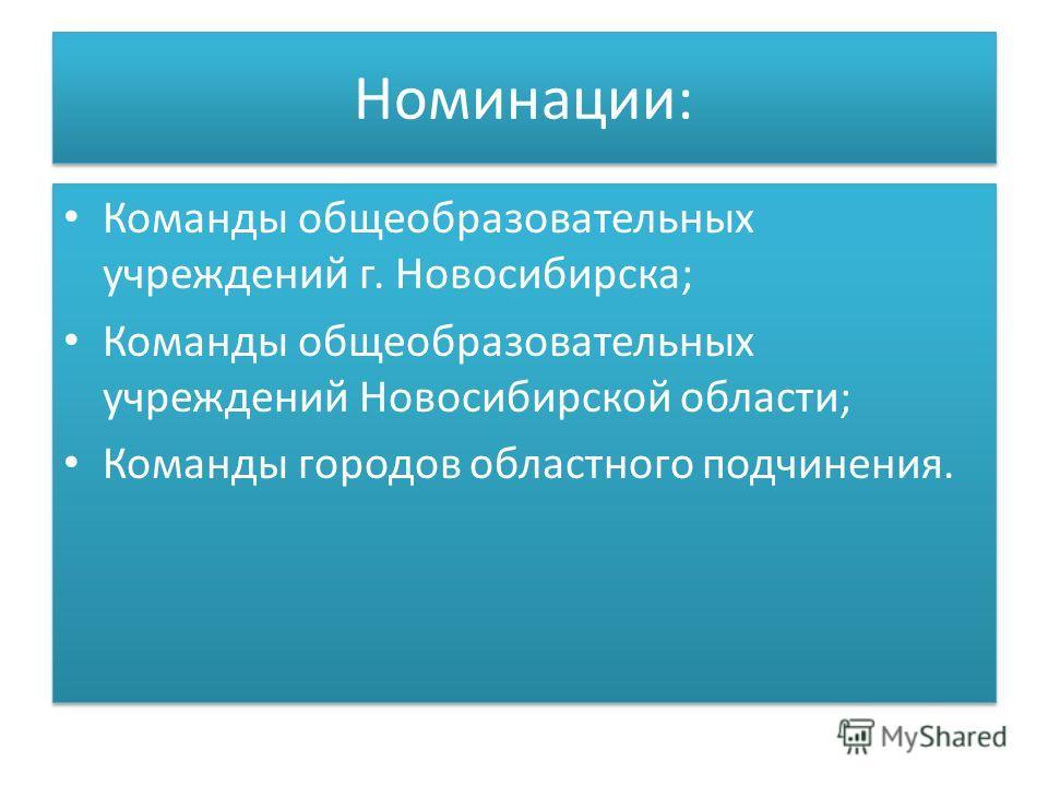 Номинации: Команды общеобразовательных учреждений г. Новосибирска; Команды общеобразовательных учреждений Новосибирской области; Команды городов областного подчинения. Команды общеобразовательных учреждений г. Новосибирска; Команды общеобразовательны