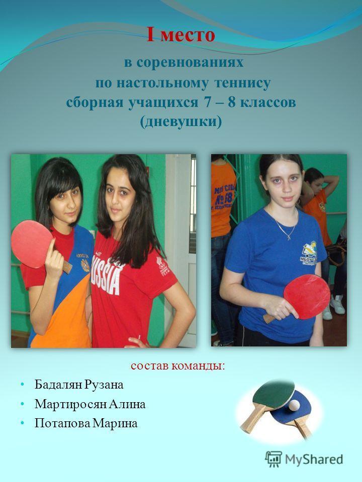 I место в соревнованиях по настольному теннису сборная учащихся 7 – 8 классов (дневушки) состав команды: Бадалян Рузана Мартиросян Алина Потапова Марина