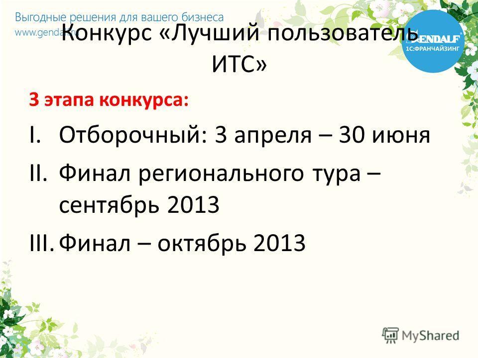 Конкурс «Лучший пользователь ИТС» 3 этапа конкурса: I.Отборочный: 3 апреля – 30 июня II.Финал регионального тура – сентябрь 2013 III.Финал – октябрь 2013
