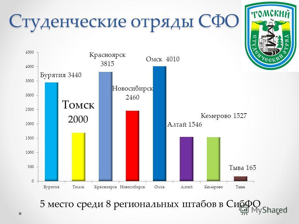 Студенческие отряды СФО 5 место среди 8 региональных штабов в СибФО