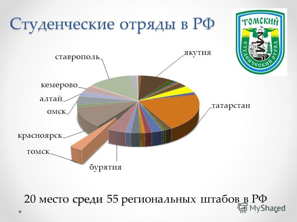 Студенческие отряды в РФ среди 20 место среди 55 региональных штабов в РФ