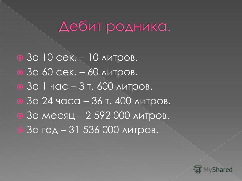 За 10 сек. – 10 литров. За 60 сек. – 60 литров. За 1 час – 3 т. 600 литров. За 24 часа – 36 т. 400 литров. За месяц – 2 592 000 литров. За год – 31 536 000 литров.