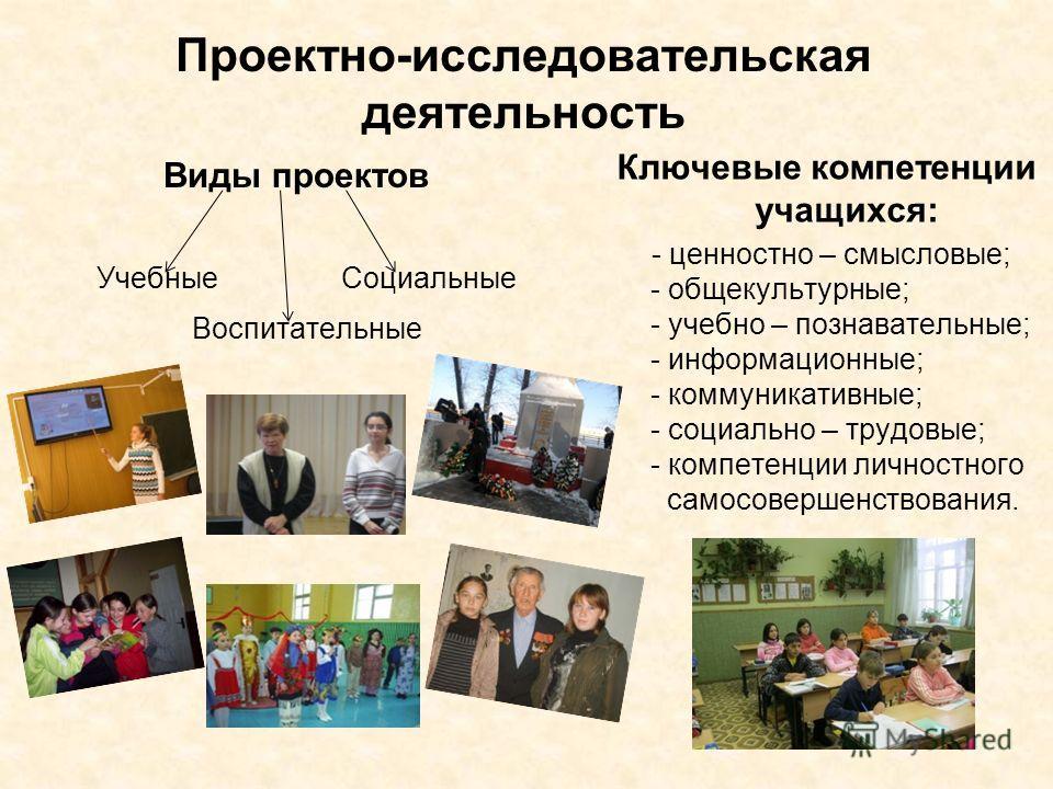 Проектно-исследовательская деятельность Виды проектов Учебные Социальные Воспитательные Ключевые компетенции учащихся: - ценностно – смысловые; - общекультурные; - учебно – познавательные; - информационные; - коммуникативные; - социально – трудовые;