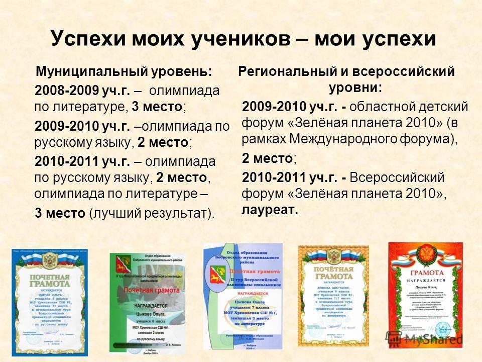 Успехи моих учеников – мои успехи Муниципальный уровень: 2008-2009 уч.г. – олимпиада по литературе, 3 место; 2009-2010 уч.г. –олимпиада по русскому языку, 2 место; 2010-2011 уч.г. – олимпиада по русскому языку, 2 место, олимпиада по литературе – 3 ме