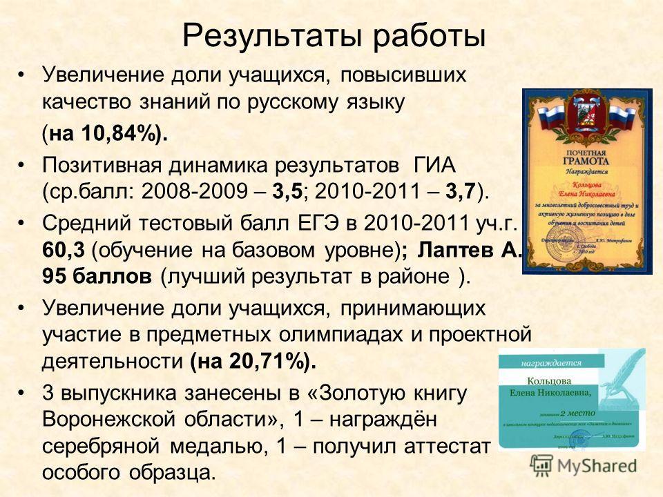 Результаты работы Увеличение доли учащихся, повысивших качество знаний по русскому языку (на 10,84%). Позитивная динамика результатов ГИА (ср.балл: 2008-2009 – 3,5; 2010-2011 – 3,7). Средний тестовый балл ЕГЭ в 2010-2011 уч.г. - 60,3 (обучение на баз