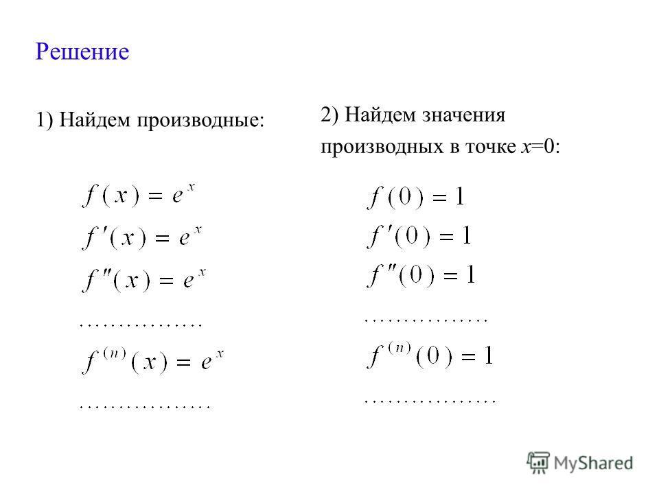 Решение 1) Найдем производные: 2) Найдем значения производных в точке х=0: