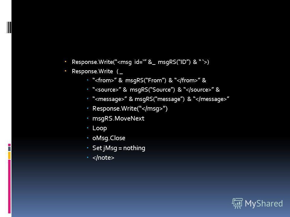 Response.Write( ) Response.Write ( _ & msgRS(From) & & & msgRS(Source) & & & msgRS(message) & Response.Write( ) msgRS.MoveNext Loop oMsg.Close Set jMsg = nothing