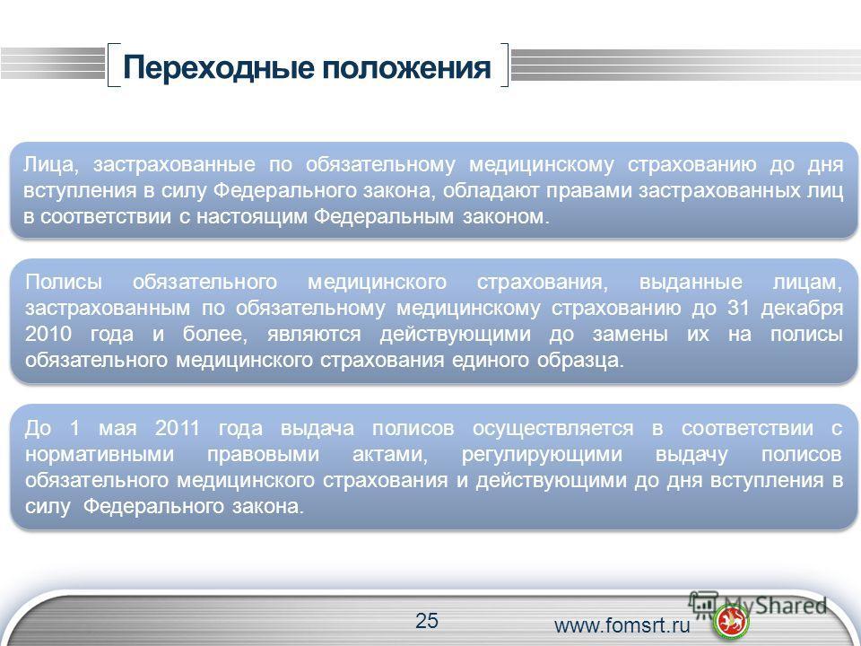 Переходные положения 25 www.fomsrt.ru Лица, застрахованные по обязательному медицинскому страхованию до дня вступления в силу Федерального закона, обладают правами застрахованных лиц в соответствии с настоящим Федеральным законом. Полисы обязательног