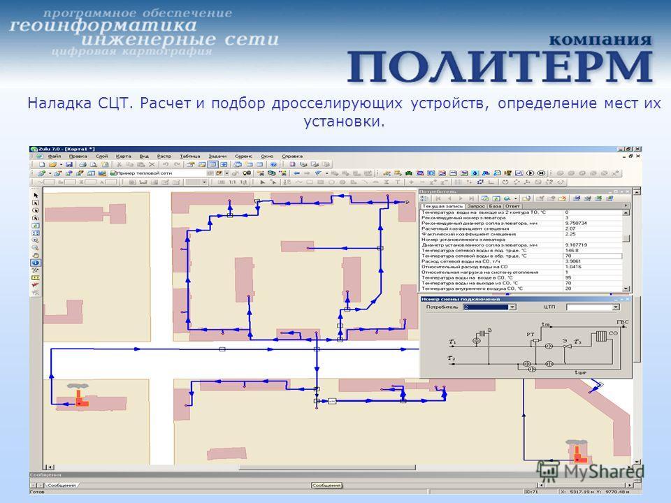 Наладка СЦТ. Расчет и подбор дросселирующих устройств, определение мест их установки.