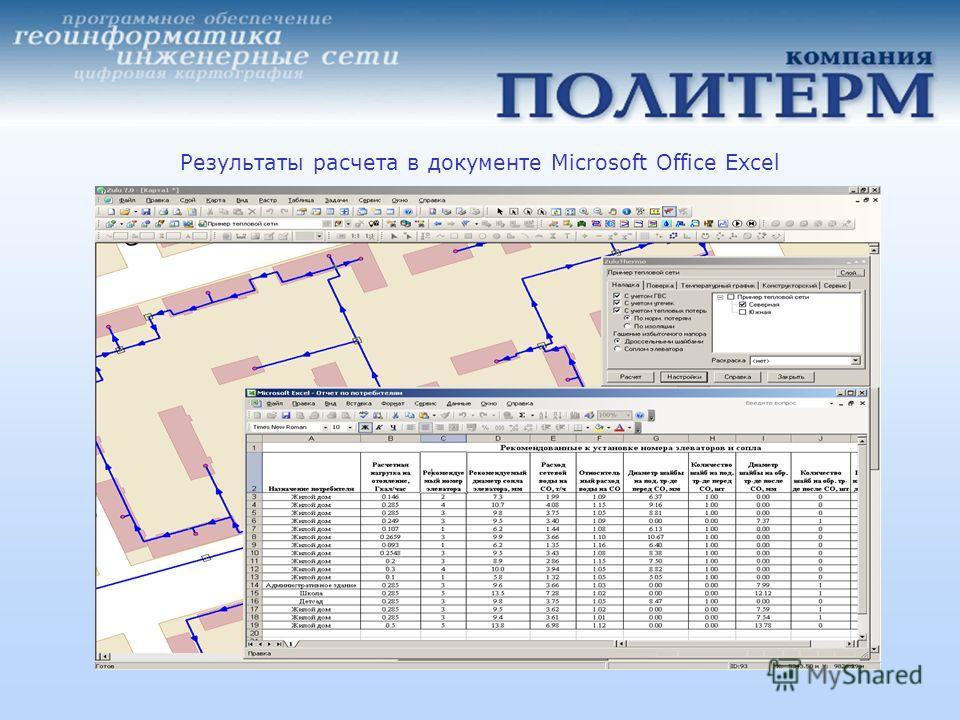 Результаты расчета в документе Microsoft Office Excel