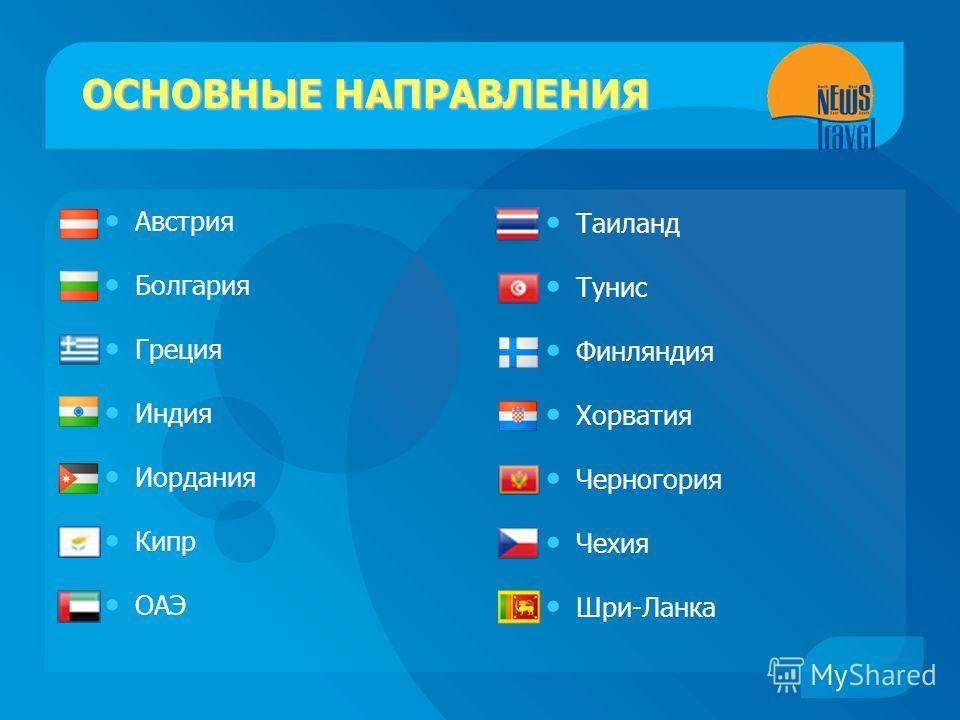 ОСНОВНЫЕ НАПРАВЛЕНИЯ Австрия Болгария Греция Индия Иордания Кипр ОАЭ Таиланд Тунис Финляндия Хорватия Черногория Чехия Шри-Ланка