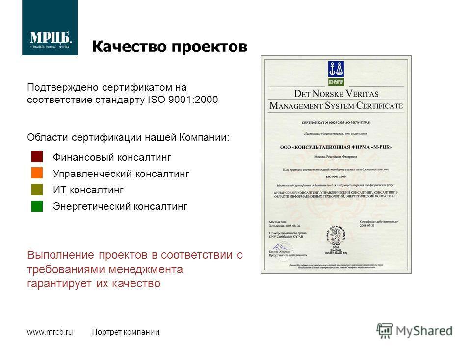 www.mrcb.ruПортрет компании Качество проектов Подтверждено сертификатом на соответствие стандарту ISO 9001:2000 Выполнение проектов в соответствии с требованиями менеджмента гарантирует их качество Финансовый консалтинг Управленческий консалтинг ИТ к