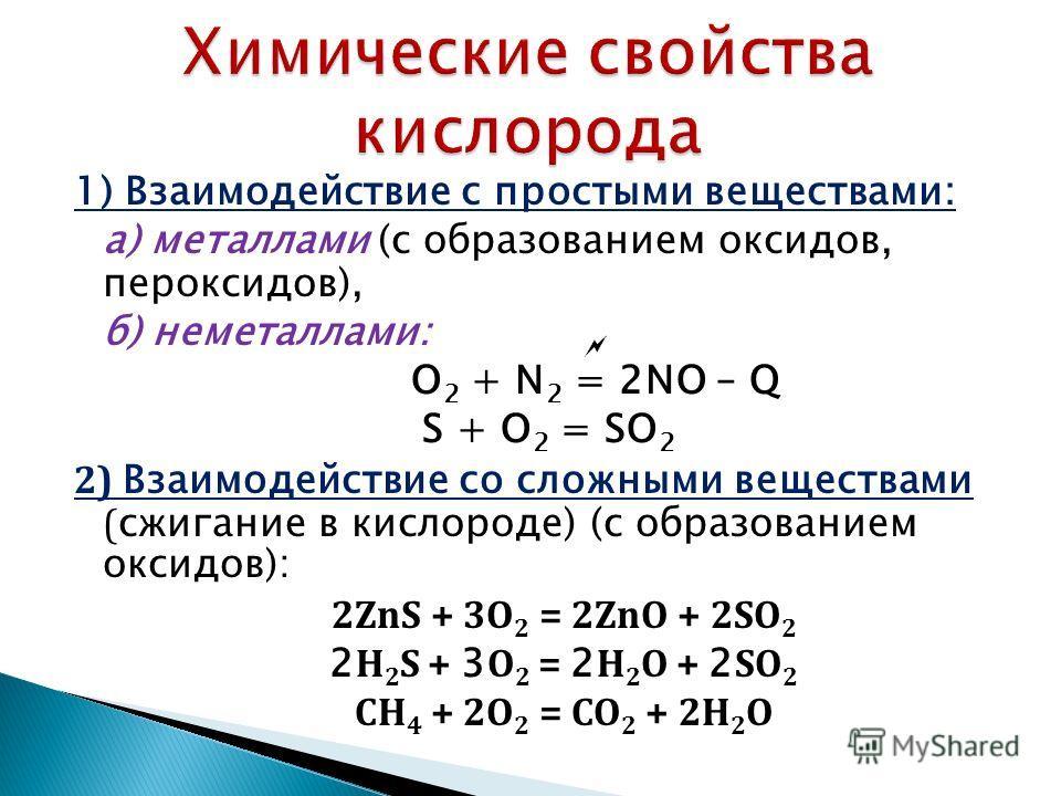 1) Взаимодействие с простыми веществами: а) металлами (с образованием оксидов, пероксидов), б) неметаллами: O 2 + N 2 = 2NO – Q S + O 2 = SO 2 2) Взаимодействие со сложными веществами ( сжигание в кислороде) (с образованием оксидов): 2ZnS + 3O 2 = 2Z