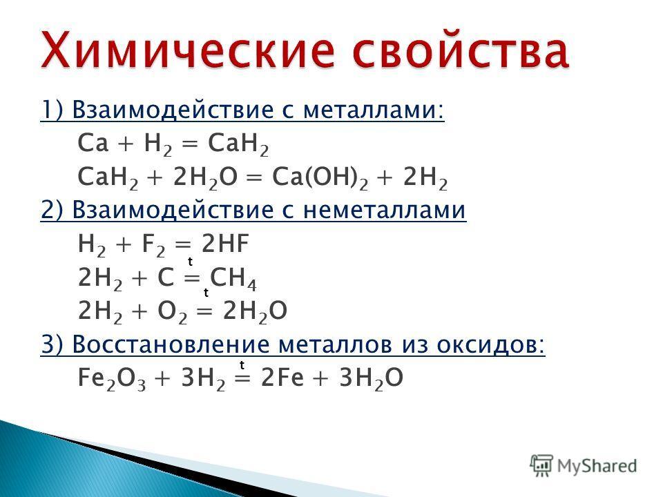 1) Взаимодействие с металлами: Ca + H 2 = CaH 2 CaH 2 + 2H 2 O = Ca(OH) 2 + 2H 2 2) Взаимодействие с неметаллами H 2 + F 2 = 2HF 2H 2 + C = CH 4 2H 2 + O 2 = 2H 2 O 3) Восстановление металлов из оксидов: Fe 2 O 3 + 3H 2 = 2Fe + 3H 2 O t t t