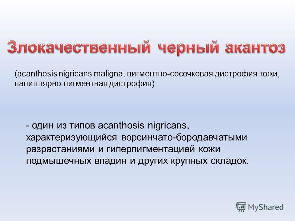(acanthosis nigricans maligna, пигментно-сосочковая дистрофия кожи, папиллярно-пигментная дистрофия) - один из типов acanthosis nigricans, характеризующийся ворсинчато-бородавчатыми разрастаниями и гиперпигментацией кожи подмышечных впадин и других к