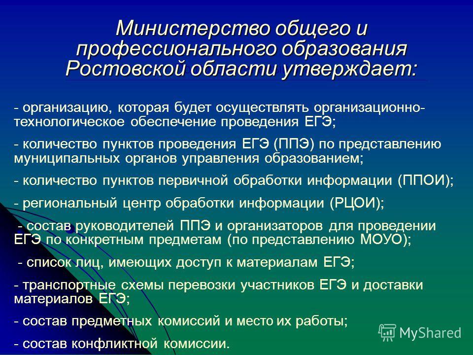 Подготовительный этап Министерство общего и профессионального образования Ростовской области утверждает: - организацию, которая будет осуществлять организационно- технологическое обеспечение проведения ЕГЭ; - количество пунктов проведения ЕГЭ (ППЭ) п