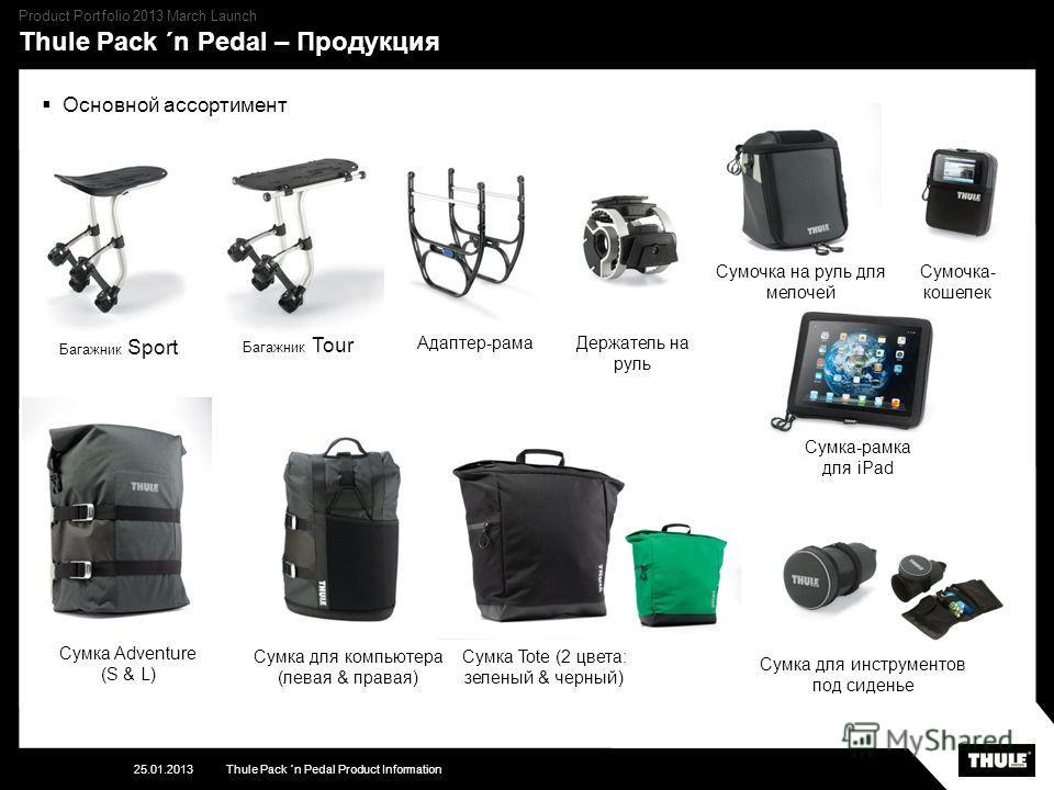 Thule Pack ´n Pedal – Продукция 25.01.2013Thule Pack ´n Pedal Product Information Product Portfolio 2013 March Launch Основной ассортимент Сумка Adventure (S & L) Сумка для компьютера (левая & правая) Сумочка на руль для мелочей Сумка для инструменто