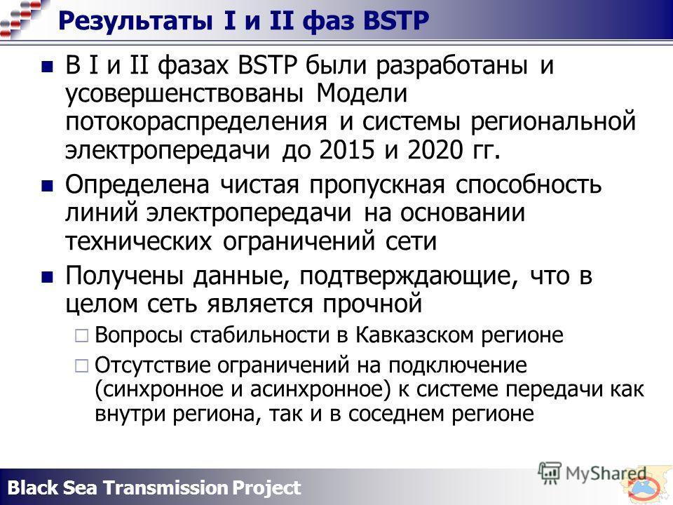Black Sea Transmission Project Результаты I и II фаз BSTP В I и II фазах BSTP были разработаны и усовершенствованы Модели потокораспределения и системы региональной электропередачи до 2015 и 2020 гг. Определена чистая пропускная способность линий эле