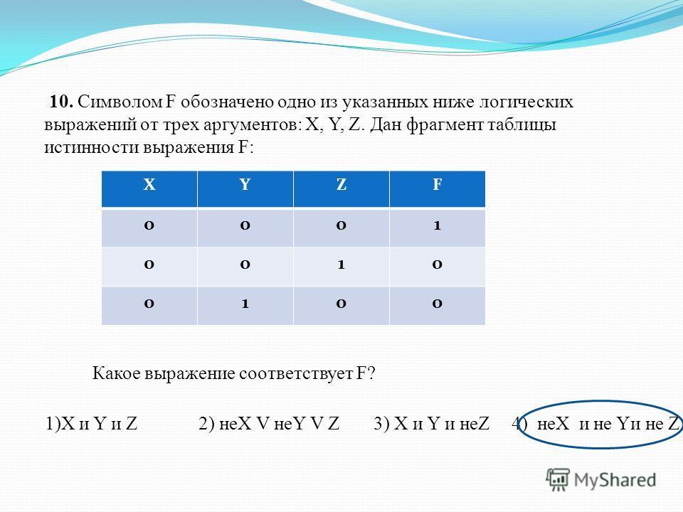 10. Символом F обозначено одно из указанных ниже логических выражений от трех аргументов: X, Y, Z. Дан фрагмент таблицы истинности выражения F: ХYZF 0001 0010 0100 Какое выражение соответствует F? 1)X и Y и Z2) неХ V неY V Z3) X и Y и неZ4) неХ и не