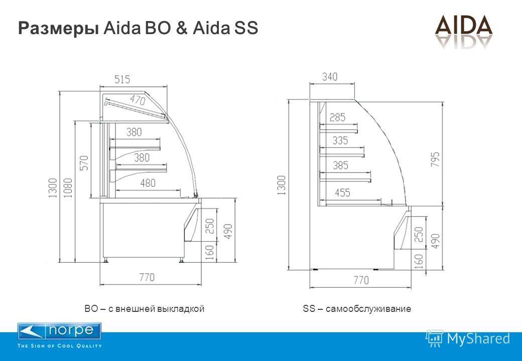 Размеры Aida BO & Aida SS BO – с внешней выкладкойSS – самообслуживание