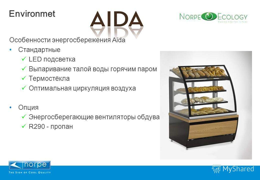 Особенности энергосбережения Aida Стандартные LED подсветка Выпаривание талой воды горячим паром Термостёкла Оптимальная циркуляция воздуха Опция Энергосберегающие вентиляторы обдува R290 - пропан Environmet