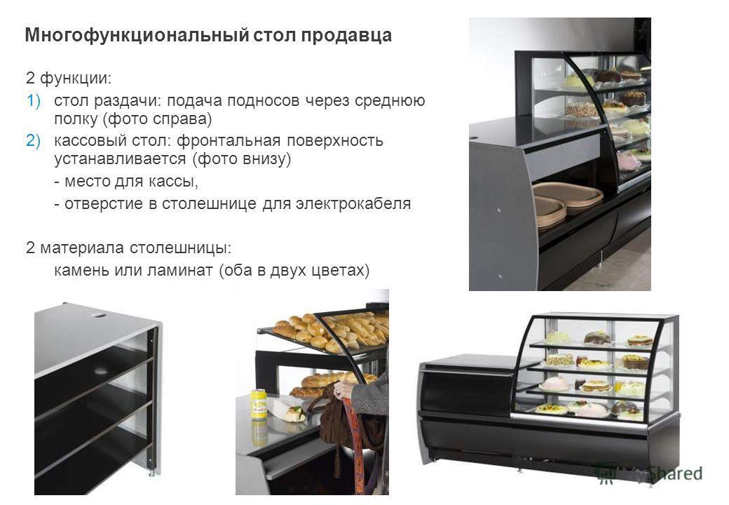 Многофункциональный стол продавца 2 функции : 1)стол раздачи : подача подносов через среднюю полку ( фото справа ) 2)кассовый стол : фронтальная поверхность устанавливается ( фото внизу ) - место для кассы, - отверстие в столешнице для электрокабеля