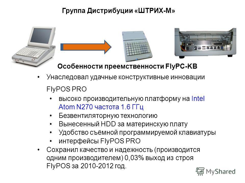 Группа Дистрибуции «ШТРИХ-М» Особенности преемственности FlyPС-KB Унаследовал удачные конструктивные инновации FlyPOS PRO высоко производительную платформу на Intel Atom N270 частота 1.6 ГГц Безвентиляторную технологию Вынесенный HDD за материнскую п
