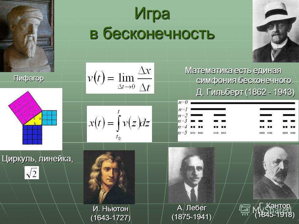 Игра в бесконечность Математика есть единая симфония бесконечного. Д. Гильберт (1862 - 1943) Пифагор Циркуль, линейка, Г. Кантор Г. Кантор(1845-1918) И. Ньютон И. Ньютон(1643-1727) А. Лебег А. Лебег(1875-1941)