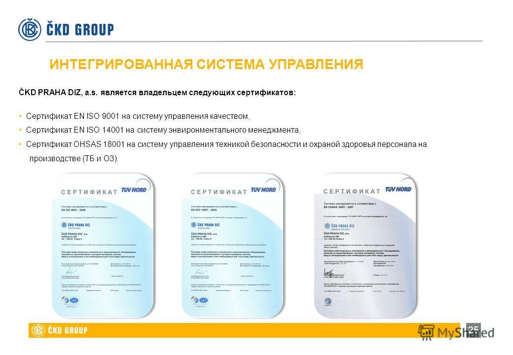 ИНТЕГРИРОВАННАЯ СИСТЕМА УПРАВЛЕНИЯ ČKD PRAHA DIZ, a.s. является владельцем следующих сертификатов: Сертификат EN ISO 9001 на систему управления качеством, Сертификат EN ISO 14001 на систему энвиронментального менеджмента, Сертификат OHSAS 18001 на си