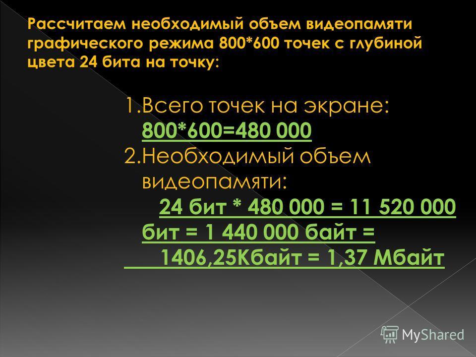 Рассчитаем необходимый объем видеопамяти графического режима 800*600 точек с глубиной цвета 24 бита на точку: 1.Всего точек на экране: 800*600=480 000 2.Необходимый объем видеопамяти: 24 бит * 480 000 = 11 520 000 бит = 1 440 000 байт = 1406,25Кбайт