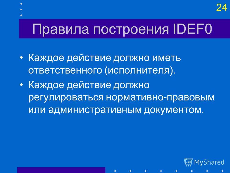 23 Правила построения IDEF0 Каждое действие должно иметь основание для начала (один или несколько входов) и результат (один или несколько выходов). Ветвления процесса (альтернативные или одновременные результаты действий) должны сопровождаться описан