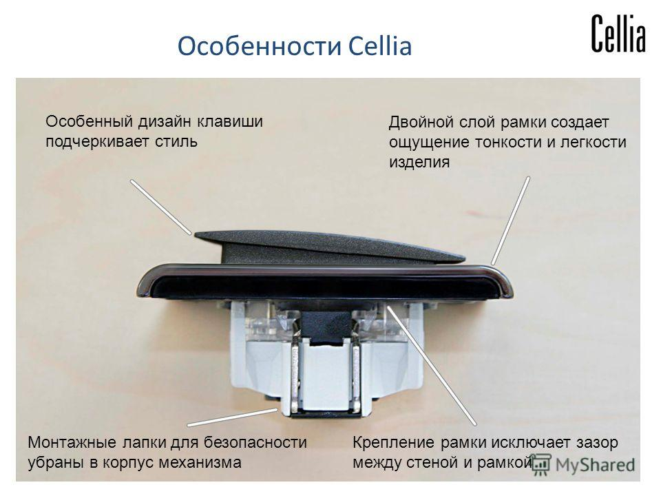 Особенный дизайн клавиши подчеркивает стиль Монтажные лапки для безопасности убраны в корпус механизма Крепление рамки исключает зазор между стеной и рамкой Двойной слой рамки создает ощущение тонкости и легкости изделия Особенности Cellia