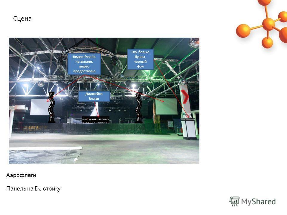 Аэрофлаги Панель на DJ стойку Сцена HW белые буквы, черный фон Диджейка белая Видео free2b на экране, видео предоставлю