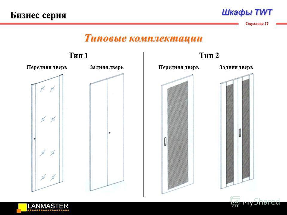 Шкафы TWT Бизнес серия Страница 11 Типовые комплектации Передняя дверь Задняя дверь Тип 1Тип 2