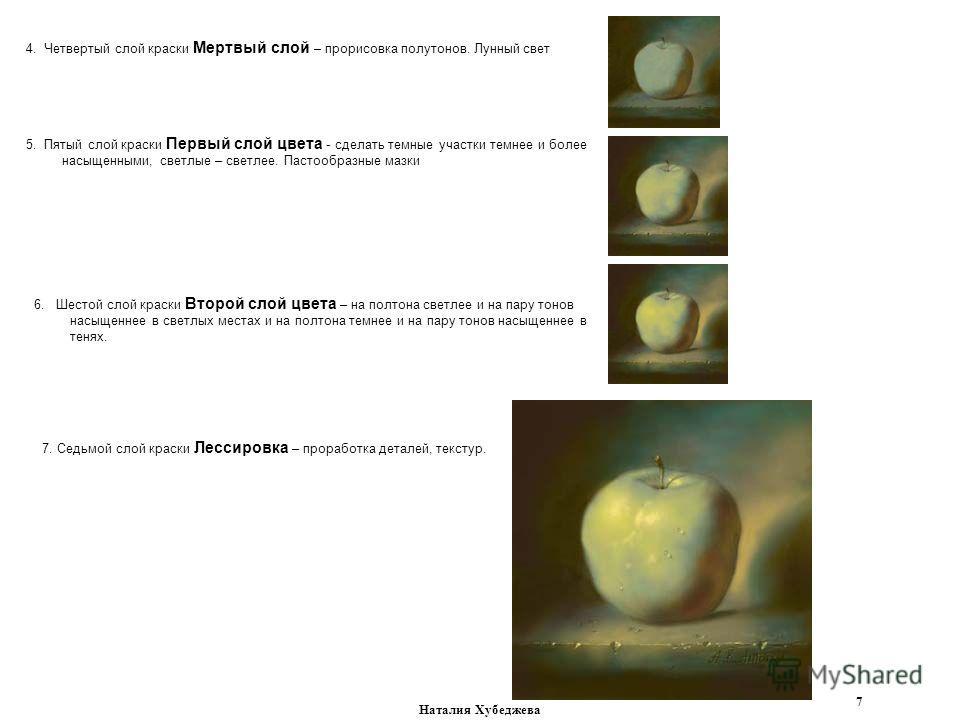 Наталия Хубеджева 7 4. Четвертый слой краски Мертвый слой – прорисовка полутонов. Лунный свет 5. Пятый слой краски Первый слой цвета - сделать темные участки темнее и более насыщенными, светлые – светлее. Пастообразные мазки 6. Шестой слой краски Вто