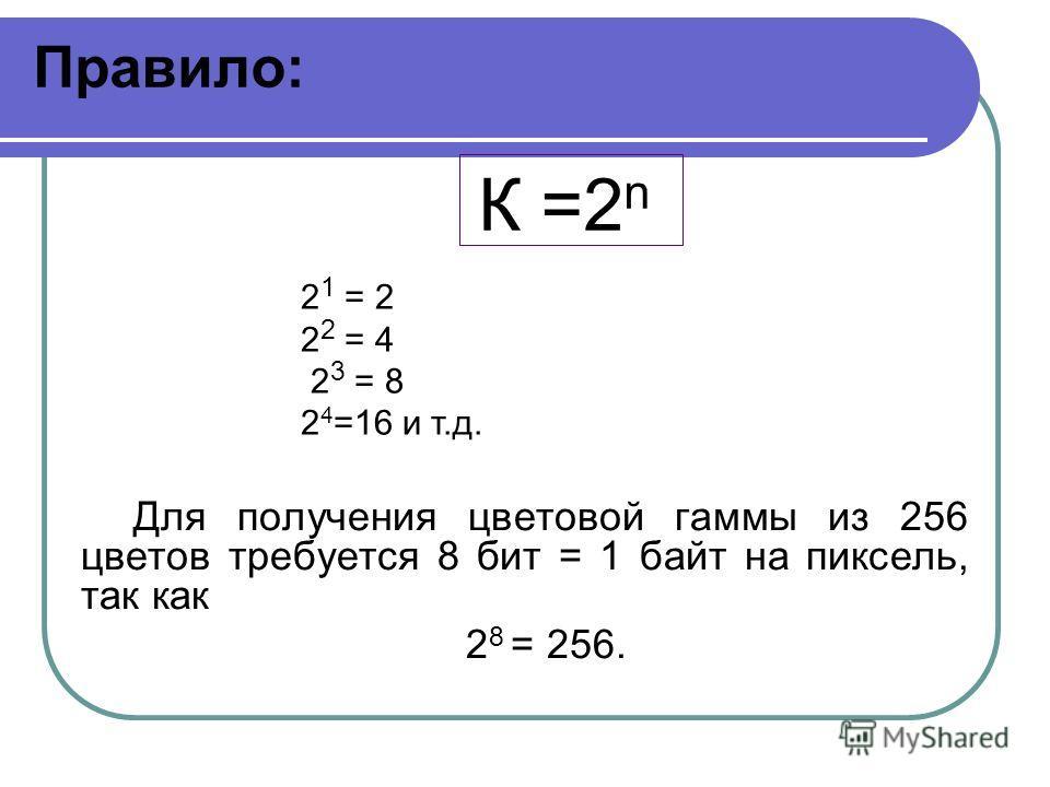 Правило: К =2 n Для получения цветовой гаммы из 256 цветов требуется 8 бит = 1 байт на пиксель, так как 2 8 = 256. 2 1 = 2 2 2 = 4 2 3 = 8 2 4 =16 и т.д.