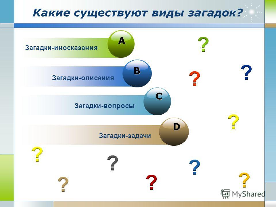 D B C A Загадки-иносказания Загадки-описания Загадки-вопросы Загадки-задачи Какие существуют виды загадок?